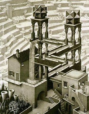 Escher - How is the water flowing ... Up or Down ?