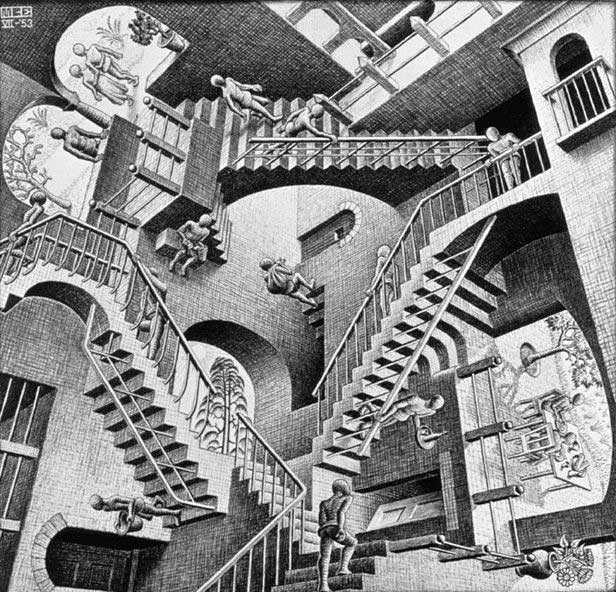 Escher - Relativity - Which way is Which ?